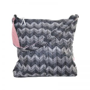 Grey Chevron Design Shoulder Bag