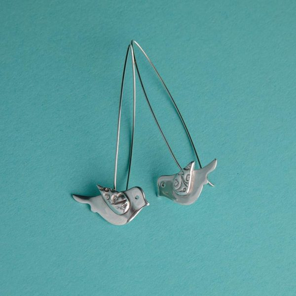 Bird Earrings on a long wire handmade by Corzo and Wood