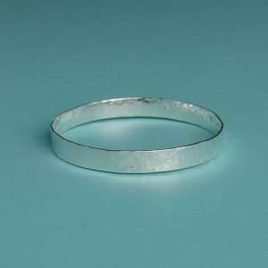 HWide Hammered Bangle with subtle texture