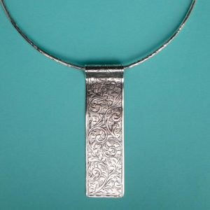Long Elegant Engraved Pendant handmade by Corzo and Wood
