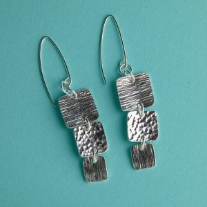 Long Hammered Trio of Squares Earrings