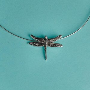 Dragonfly pendant on omega chain