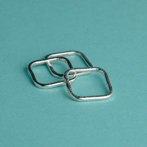 Hammered Square Stacking Ring Trio