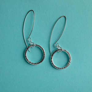 Hammered Circle Earrings on a Long Wire