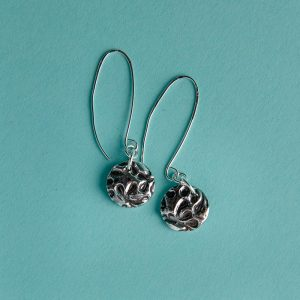 Oxidised Textured Discs Earrings on a Long Wire
