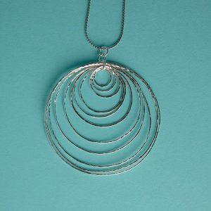 Hammered Multi-Stacked Circles Pendant