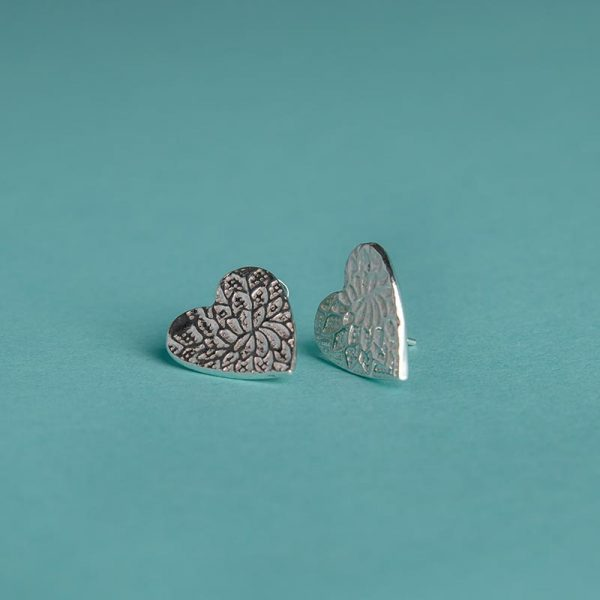 Extra Large Textured Heart Stud Earrings