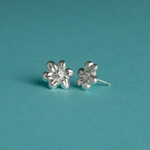 Small Textured Flower Stud Earrings