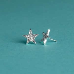 Small Textured Star Stud Earrings