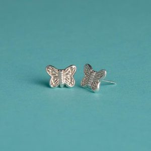 Small Textured Butterfly Stud Earrings