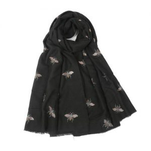 Metallic Bee Scarf Black