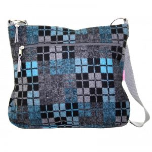 Blue Check Large Messenger Bag