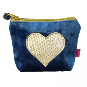 Blue Gold Snakeskin Heart Mini Purse