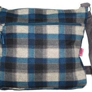 Blue Mink Checked Messenger Bag