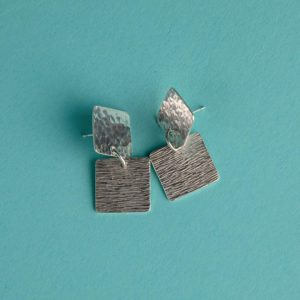 Sterling Silver Hammered Duo of Square Earrings Handmade by Corzo & Wood