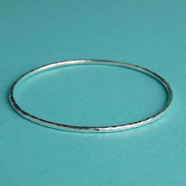 Handmade Silver Hammered Bangle (Small) by Corzo & Wood