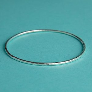 Handmade Silver Hammered Bangle (Small-Medium) by Corzo & Wood