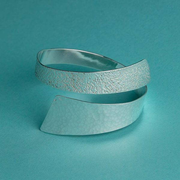 Handmade Silver Wide Hammered Bangle with Contrasting Textures by Corzo & Wood