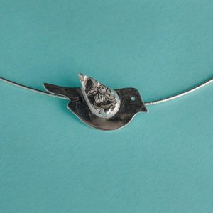 Bird Pendant on Omega Chain handmade by Corzo and Wood