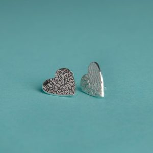 Extra Large Textured Heart Stud Earrings handmade by Corzo and Wood