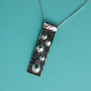 Hammered Long Rectangular Pendant handmade by Corzo and Wood
