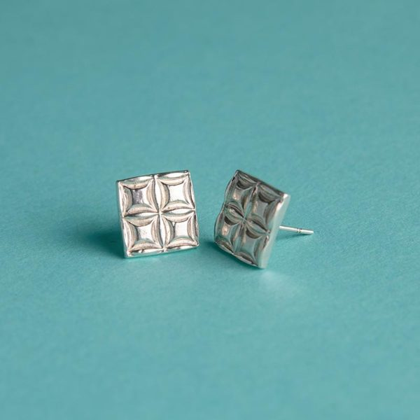 Large Textured Square Earrings handmade by Corzo and Wood