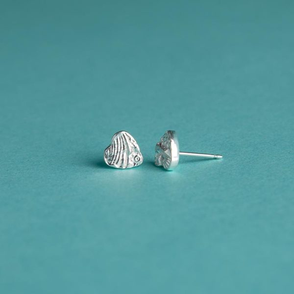 Small textured heart stud earrings handmade by Corzo and Wood