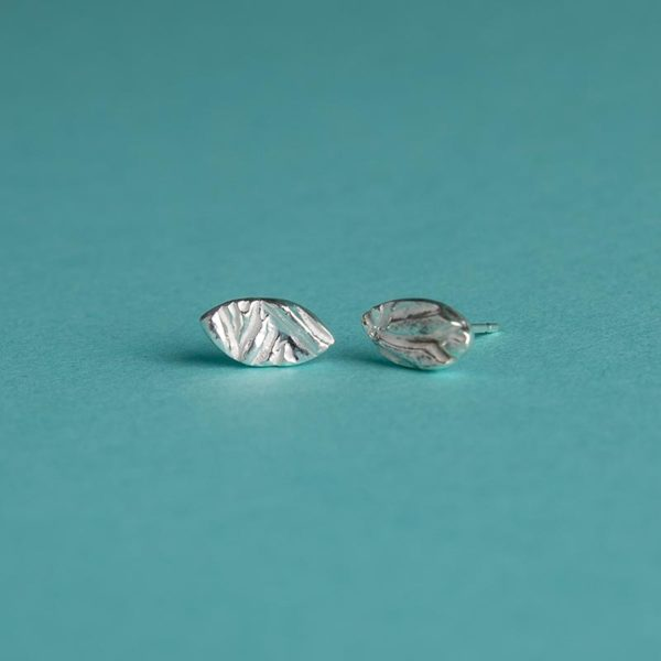 Small textured oval studs handmade by Corzo and Wood