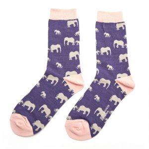 Navy Elephant Print Ankle Socks