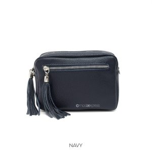 Leather Rectangle Tassel Cross- body Navy