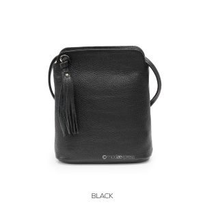 Leather Tassel Cross-body Black