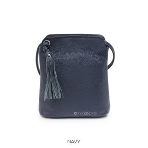 Leather Tassel Cross-body Navy