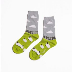 Green Grey Sheep Meadow Print Ankle Socks