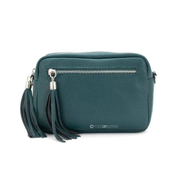 Leather Rectangle Tassel Bag - Teal - Corzo and Wood
