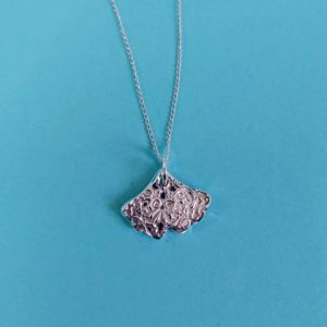 Ginko leaf textured pendant handmade by Corzo and Wood