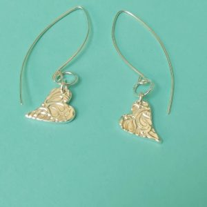 Textured Heart Earrings With Hammered Ring On A Medium Wire Handmade By Corzo And Wood