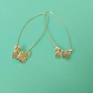 Butterfly Earrings on a long wire handmade by Corzo and Wood