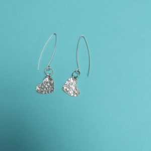 Textured heart silver earrings handmade by Corzo and Wood