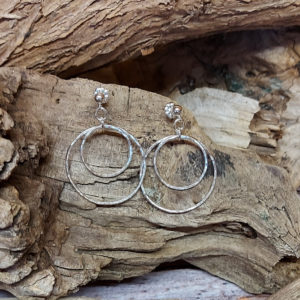 Double Hammered Circle Earrings on Studs Handmade by Corzo and Wood