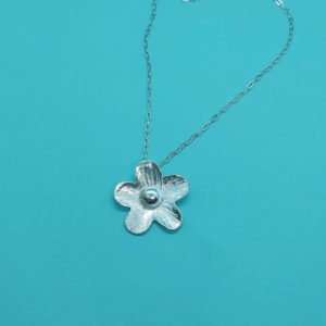 Hammered Flower Pendant Handmade by Corzo and Wood