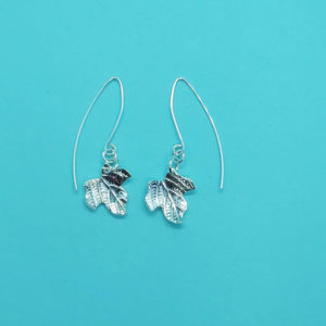 Ivy Leaf Earrings on a Medium Wire Handmade by Corzo and Wood