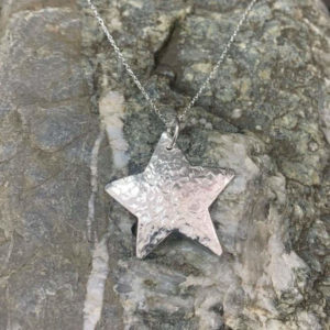 Hammered Star Pendant Handmade by Corzo and Wood