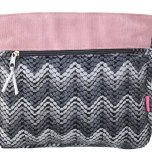 Grey chevron short cross body bag