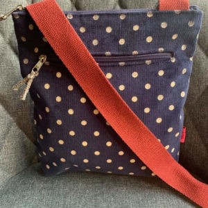 Navy Spot Messenger Bag