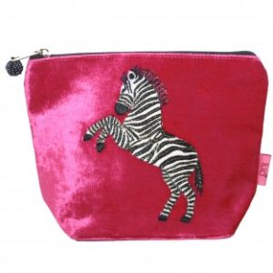Dancy Zebra Small Cosmetic Bag - Hot Pink