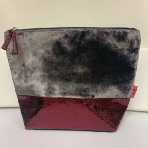 Large Banded Cosmetic Bag - Grey-Burgundy