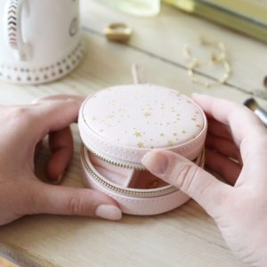 Mini Round Stars Travel Jewellery Case