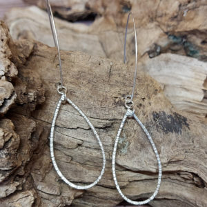 Bark-effect Large Teardrop Earrings