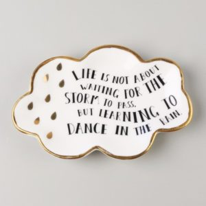 Cloud Trinket Dish with quote