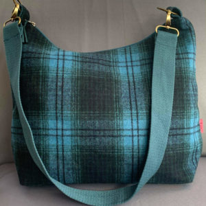 Teal Checked Sling Bag